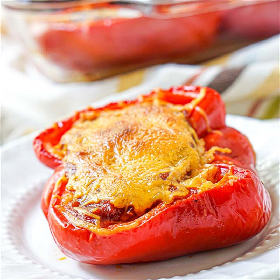Keto BBQ Shredded Chicken Stuffed Peppers with Low Carb BBQ Sau