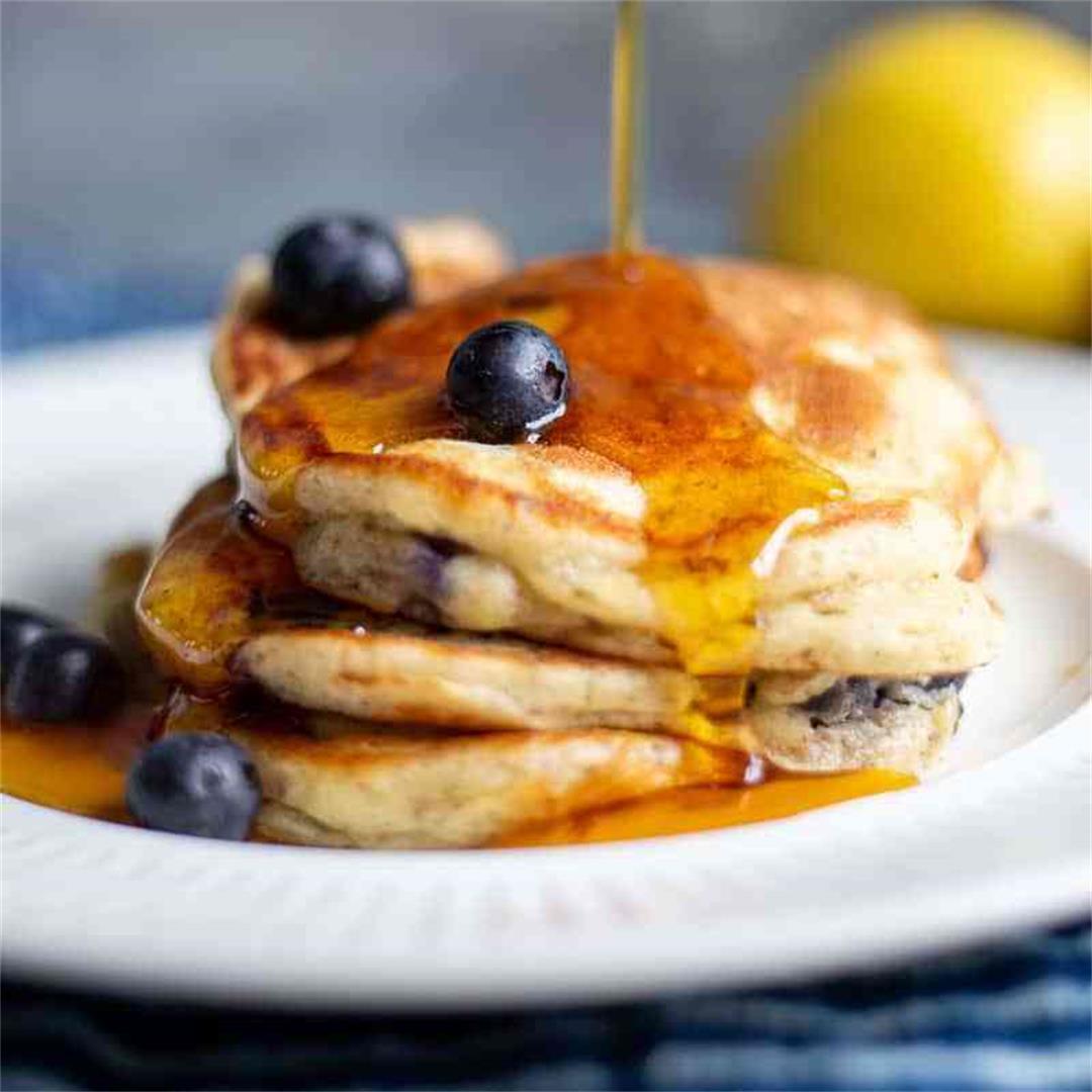 Lemon Blueberry Pancakes with Pecans