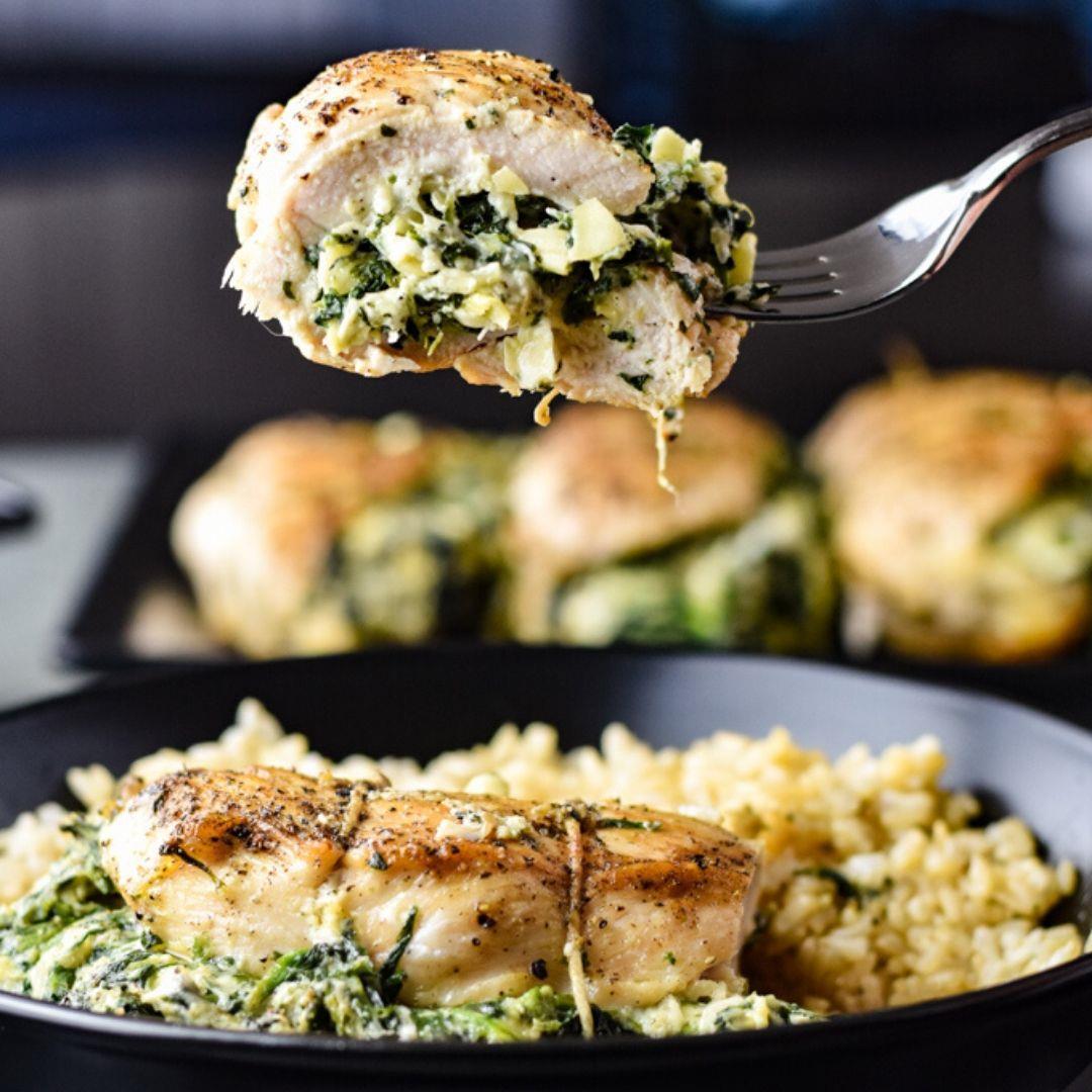 Cheesy Spinach Artichoke Stuffed Chicken Breast