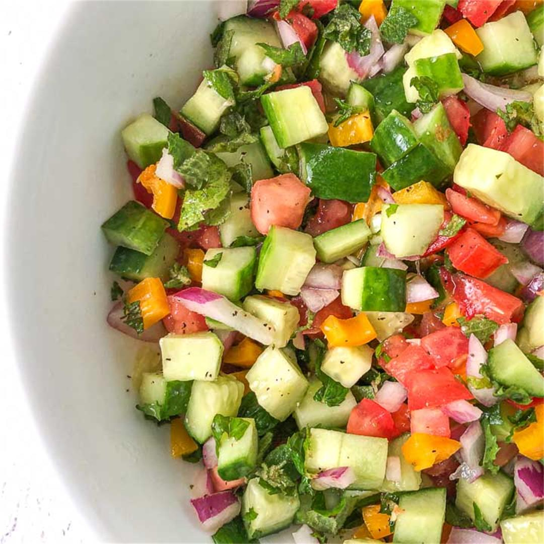 Easy Low Carb Chopped Cucumber Garden Salad