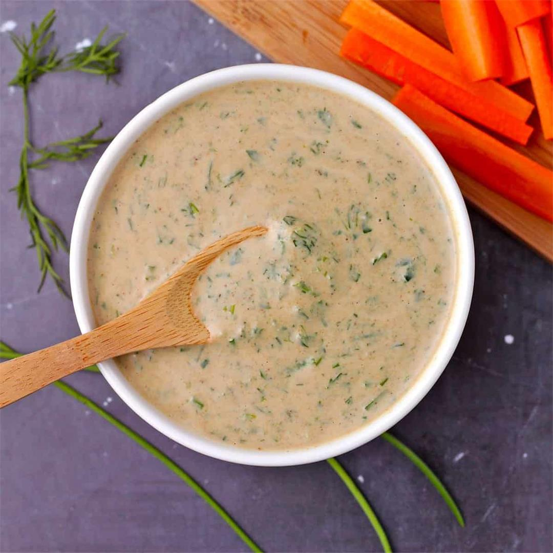 Dairy-free tahini ranch dressing (plant-based & oil-free)
