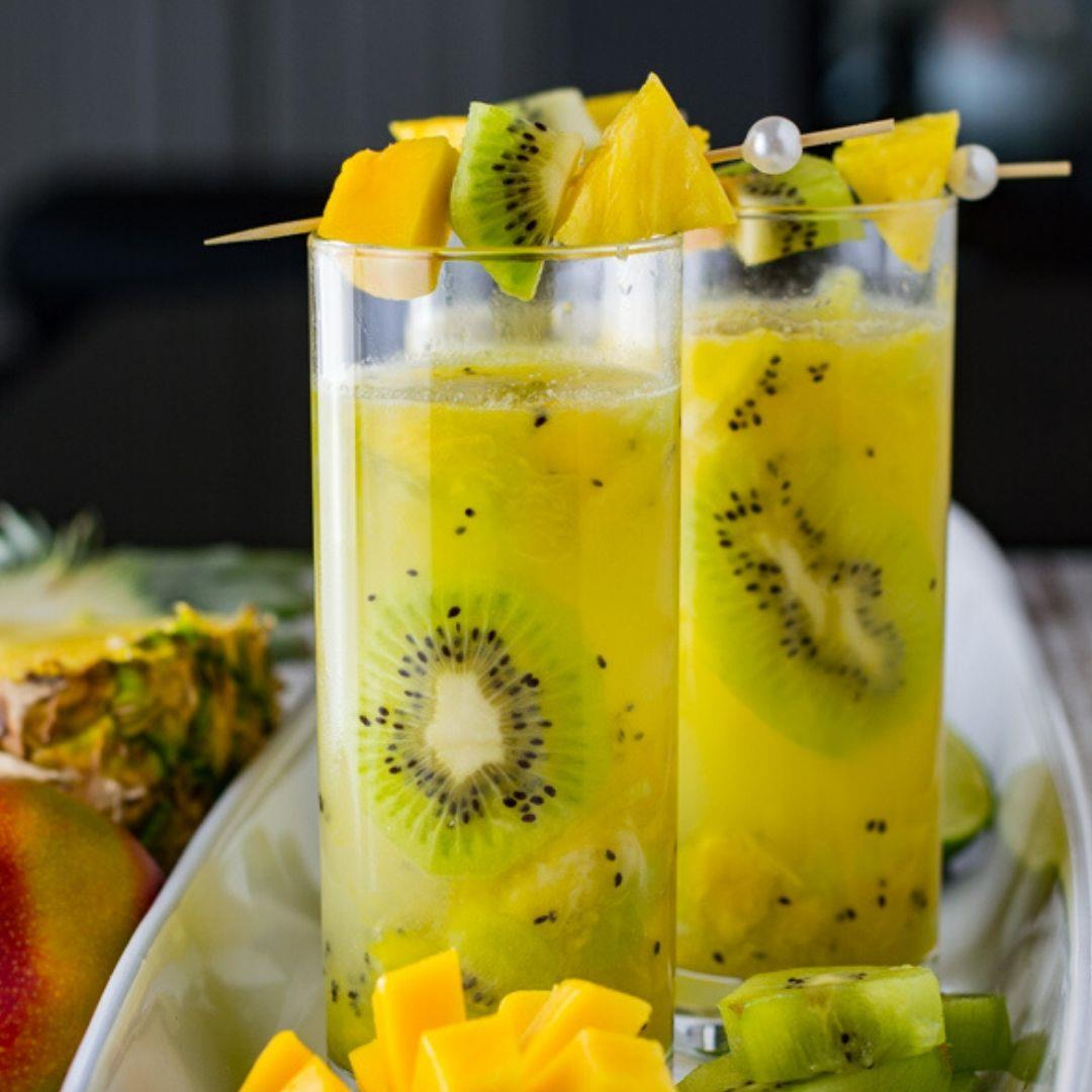 Coconut Rum Tropical Cocktail with Mango, Kiwi and Pineapple