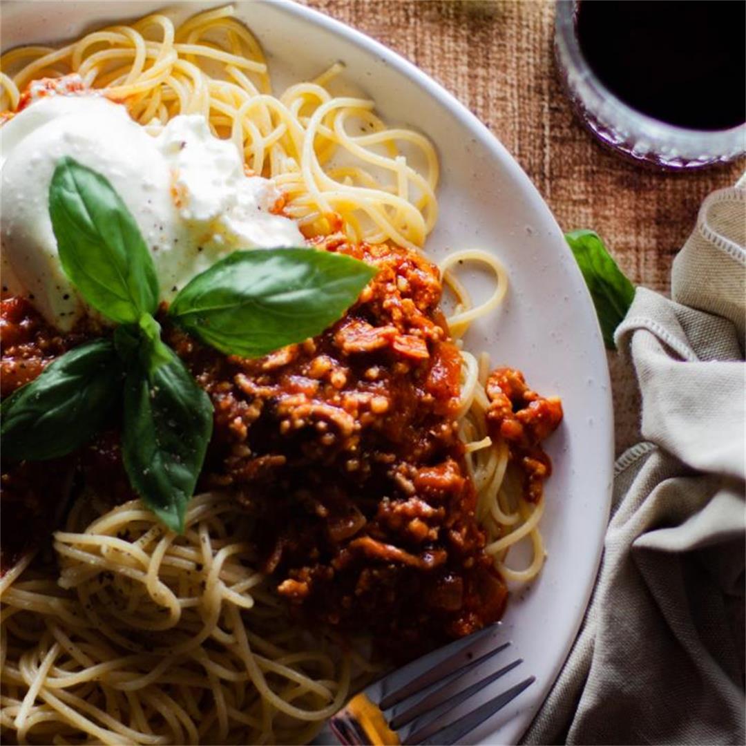 Spaghetti Bolognese with Burrata