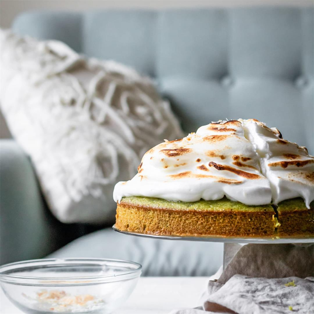 Matcha Cake with Meringue and Coconut Flakes