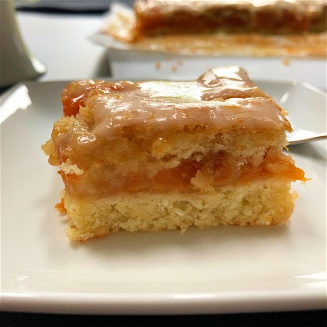 twice baked cake with roasted apricot filling