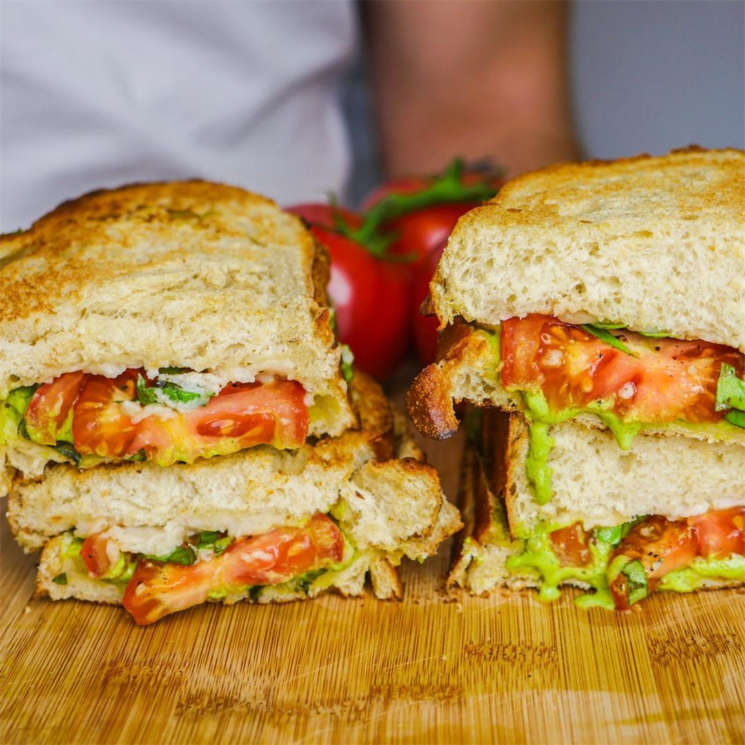 Vegan Pesto Tomato Mozzarella Sandwich