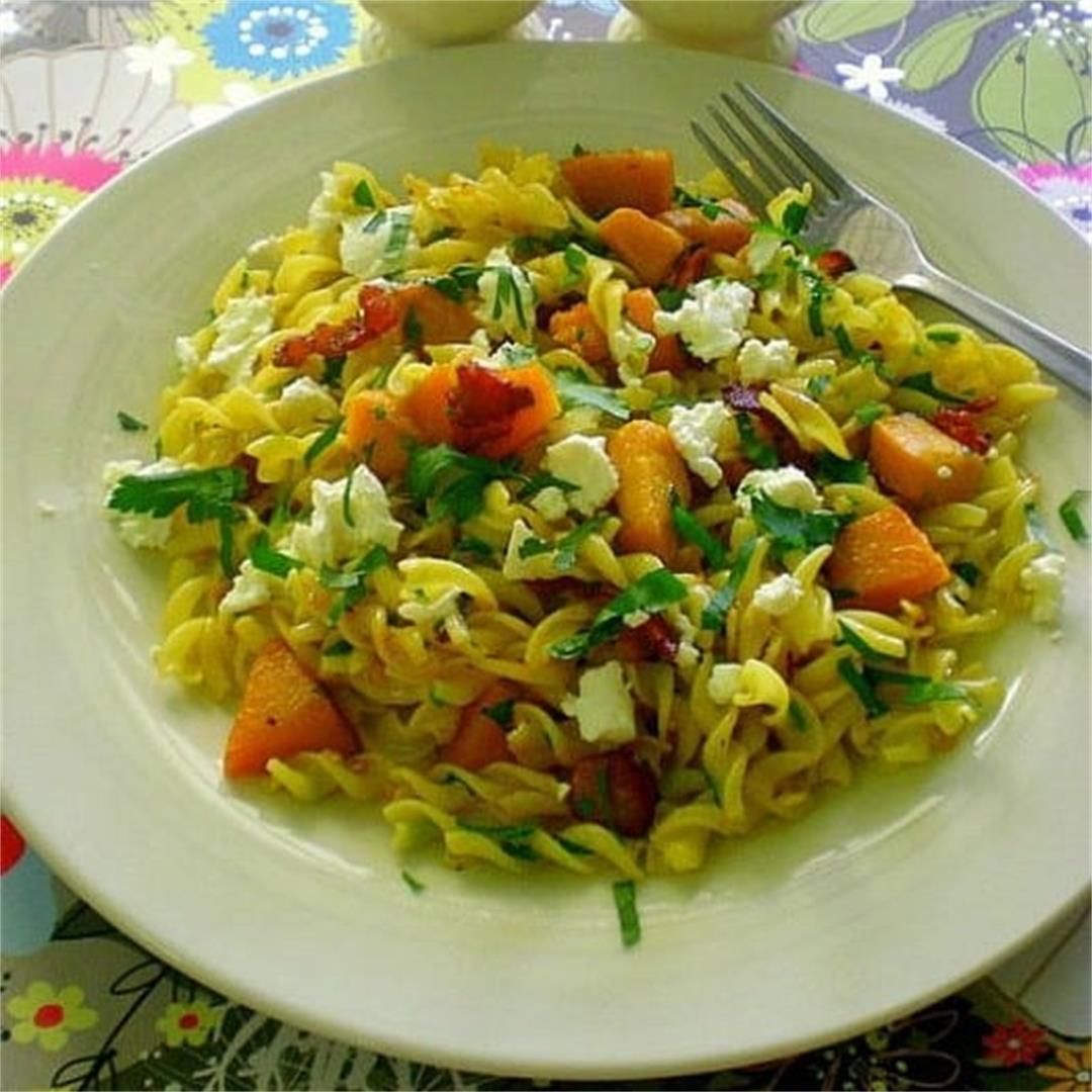 This is…..PASTA! – Fusilli with Roast Pumpkin, Bacon and Feta