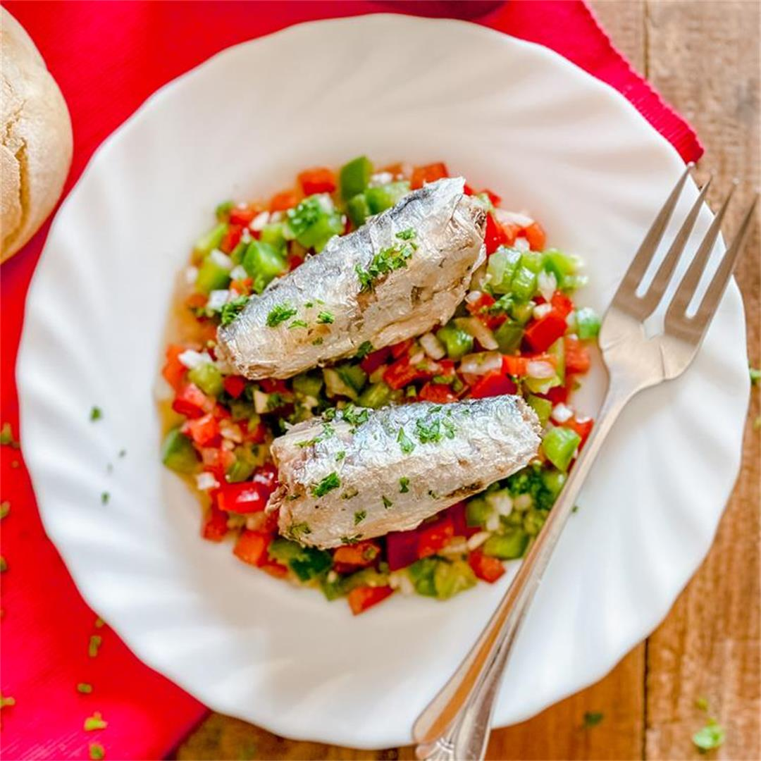 Spanish Canned Sardines with Marinated Bell Peppers