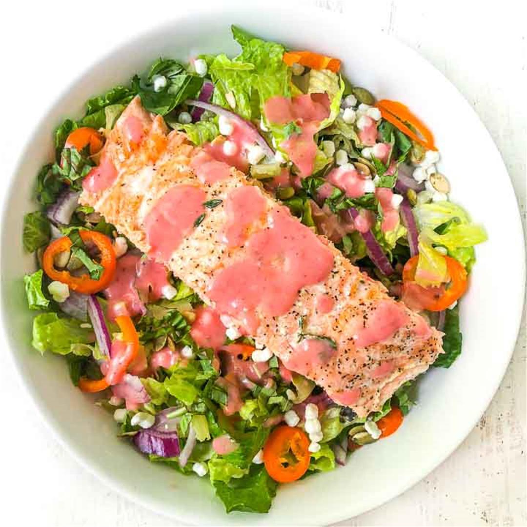 Keto Goat Cheese & Salmon Salad with Sugar Free Raspberry Vinai