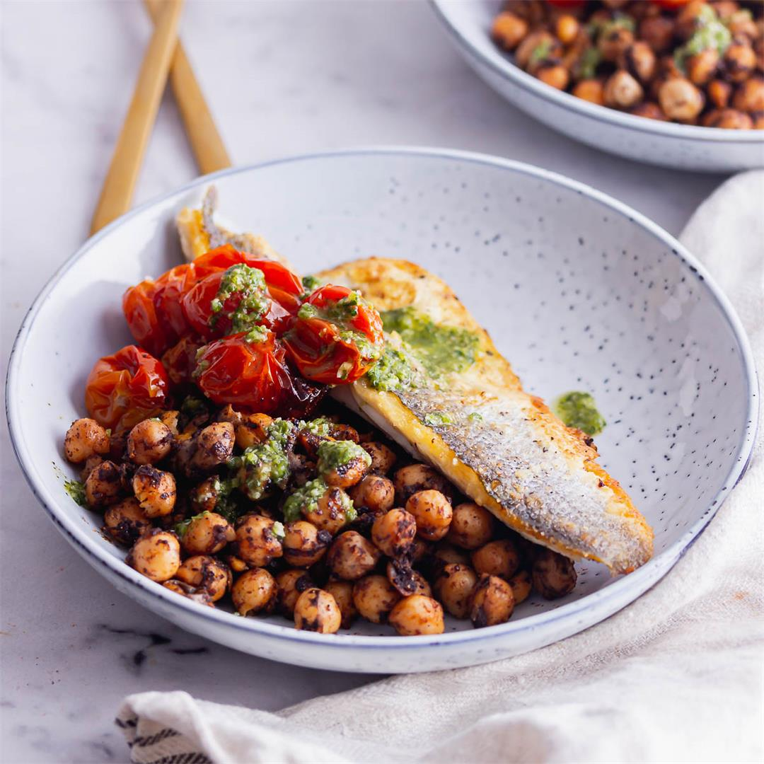 Pan Fried Sea Bass with Spiced Chickpeas