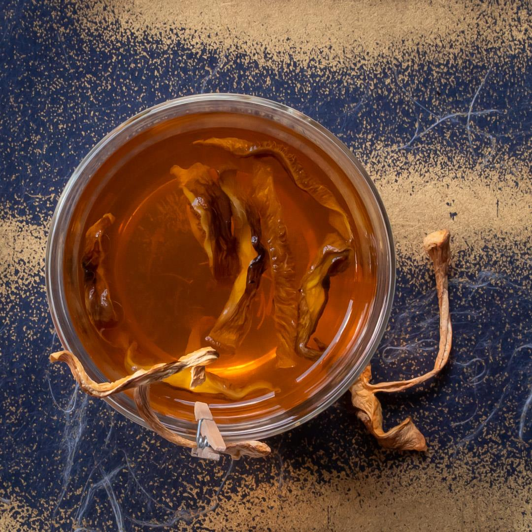Umami hot whiskey toddy: Shiitake mushroom, saffron infusion