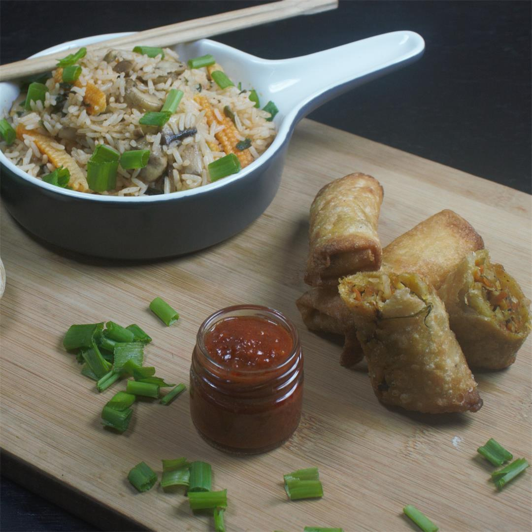 Mushroom Baby Corn Schezwan Fried Rice & Vegetable Spring Rolls