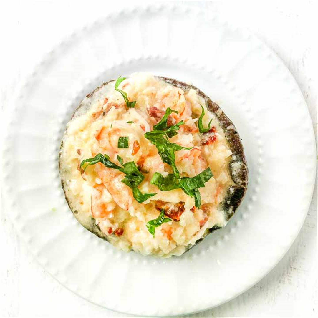Keto Cauliflower Rice Shrimp Risotto Stuffed Portobello Mushroo