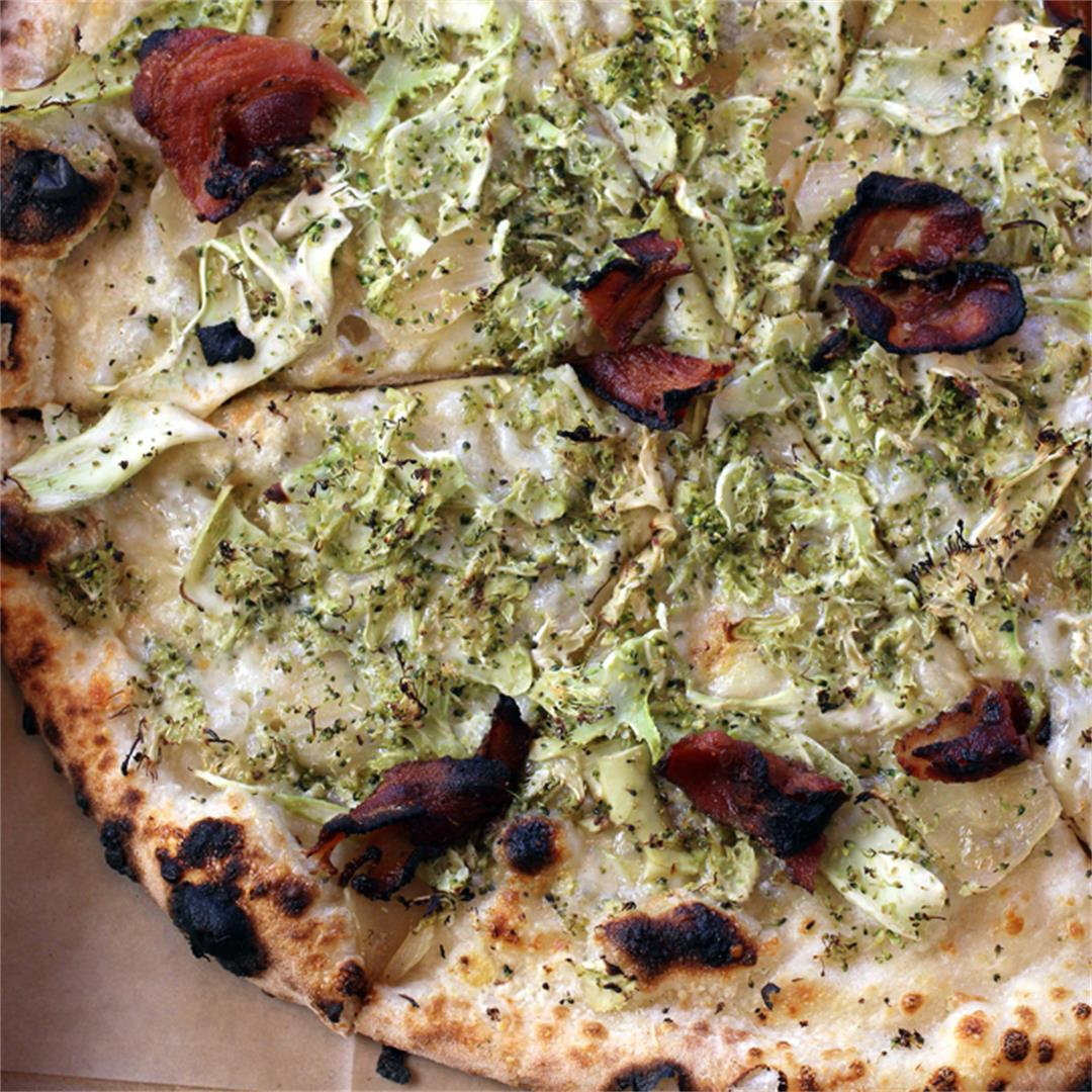 Broccoli and pancetta pizza