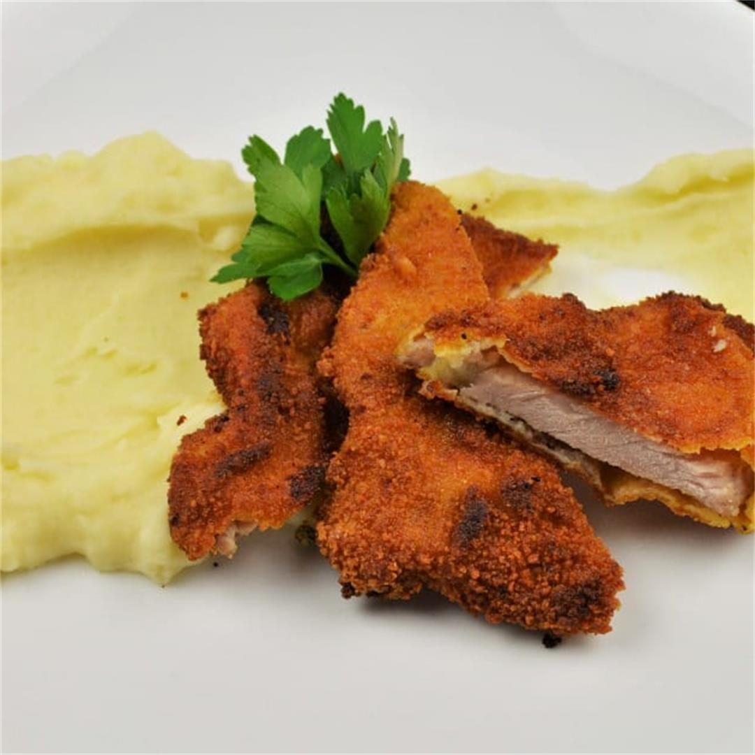 Fried Breaded Pork Chops Recipe-Served With Mashed Potatoes