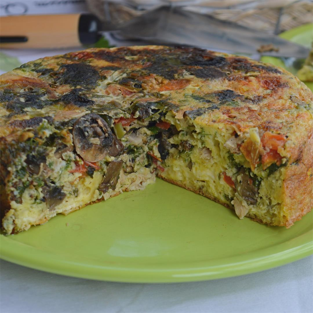 Chicken Frittata with Herbs & Mushrooms