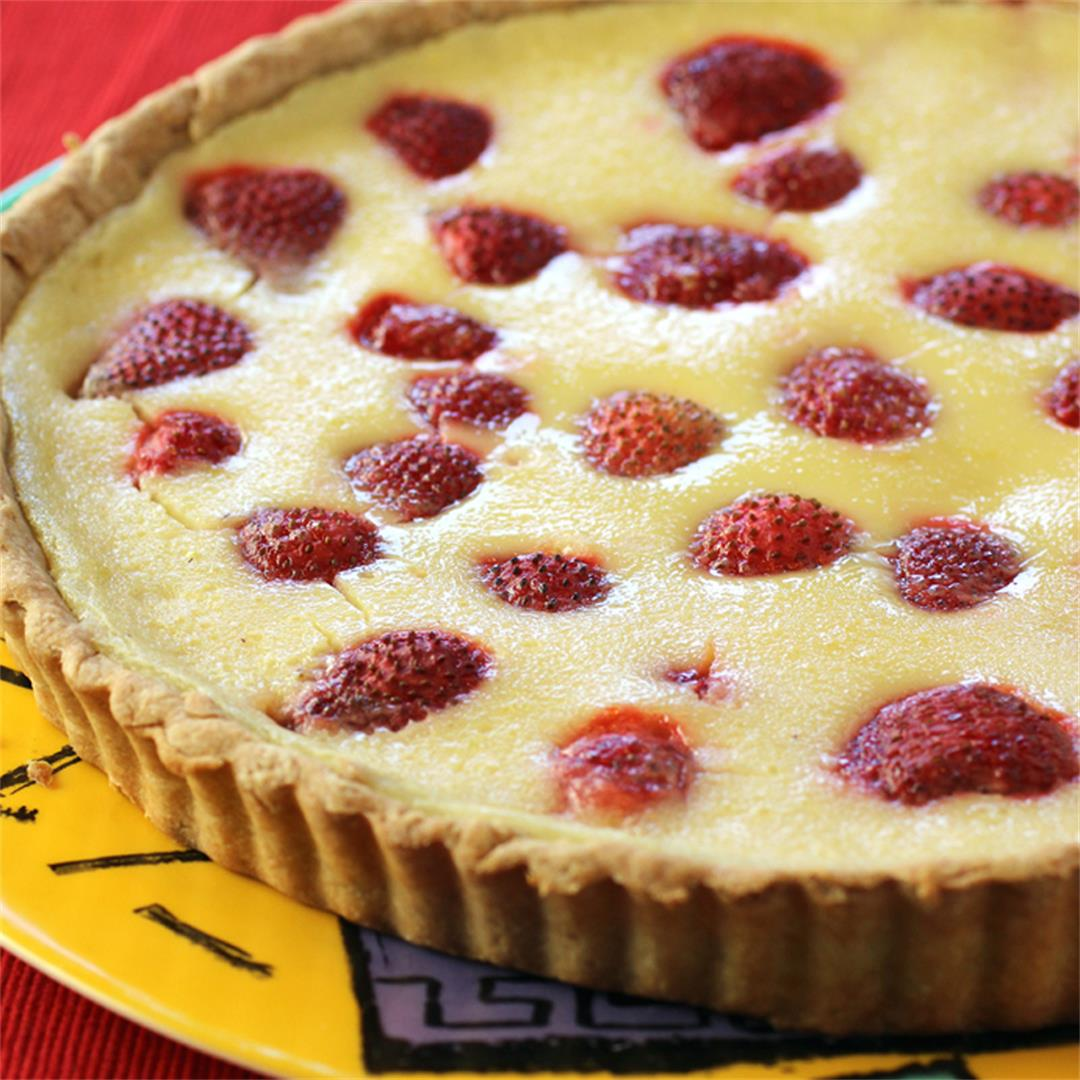 Strawberry buttermilk (or kefir) tart