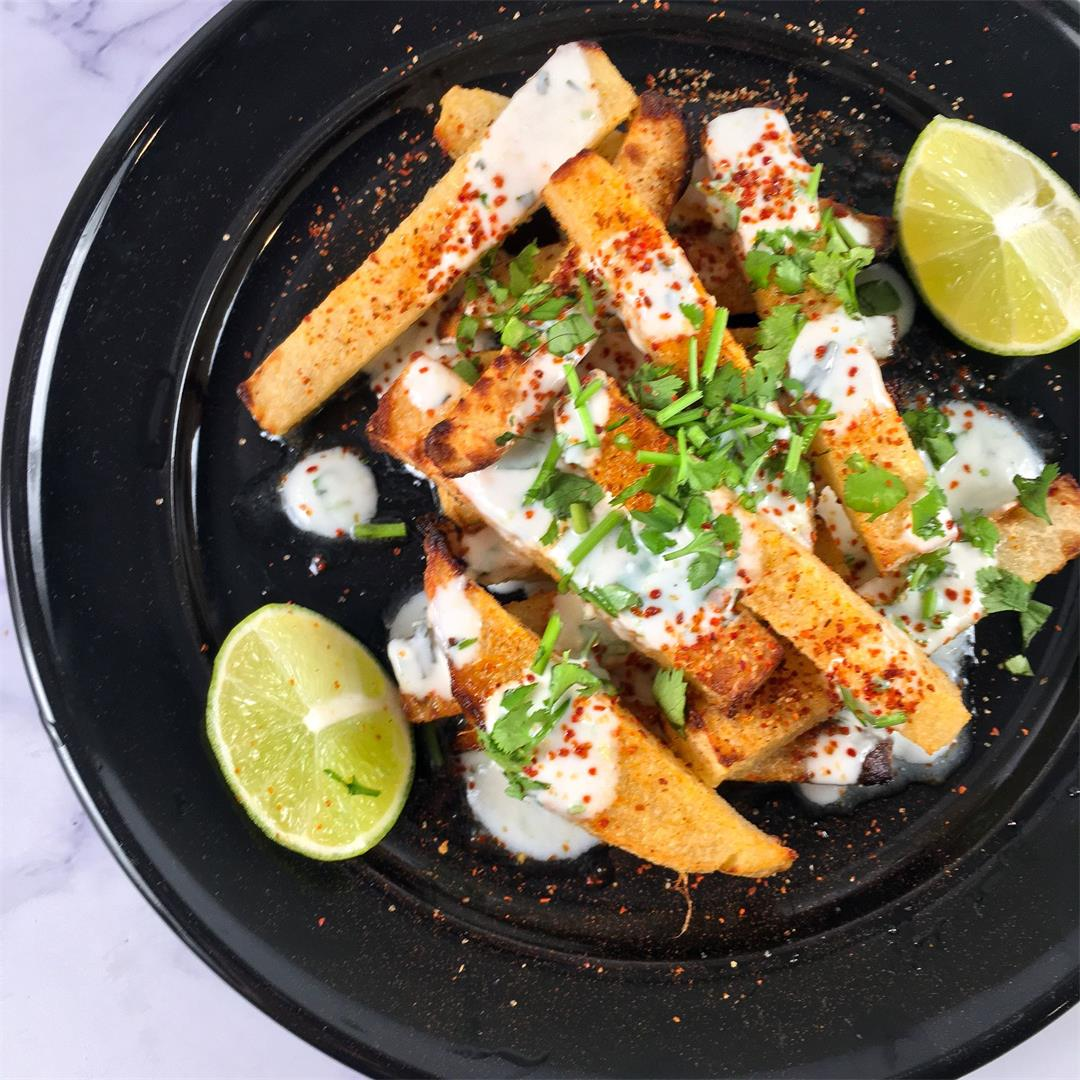 Air Fryer Jicama Fries with Cilantro-Lime Dipping Sauce
