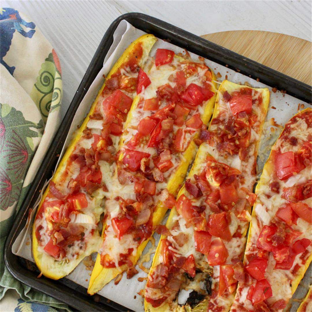 Bacon, Tomato, and Onion Summer Squash Pizza