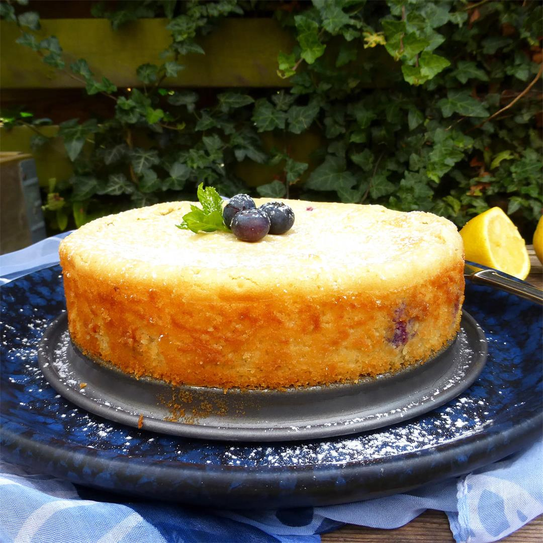 White Chocolate and Lemon Kladdkaka with Blueberries