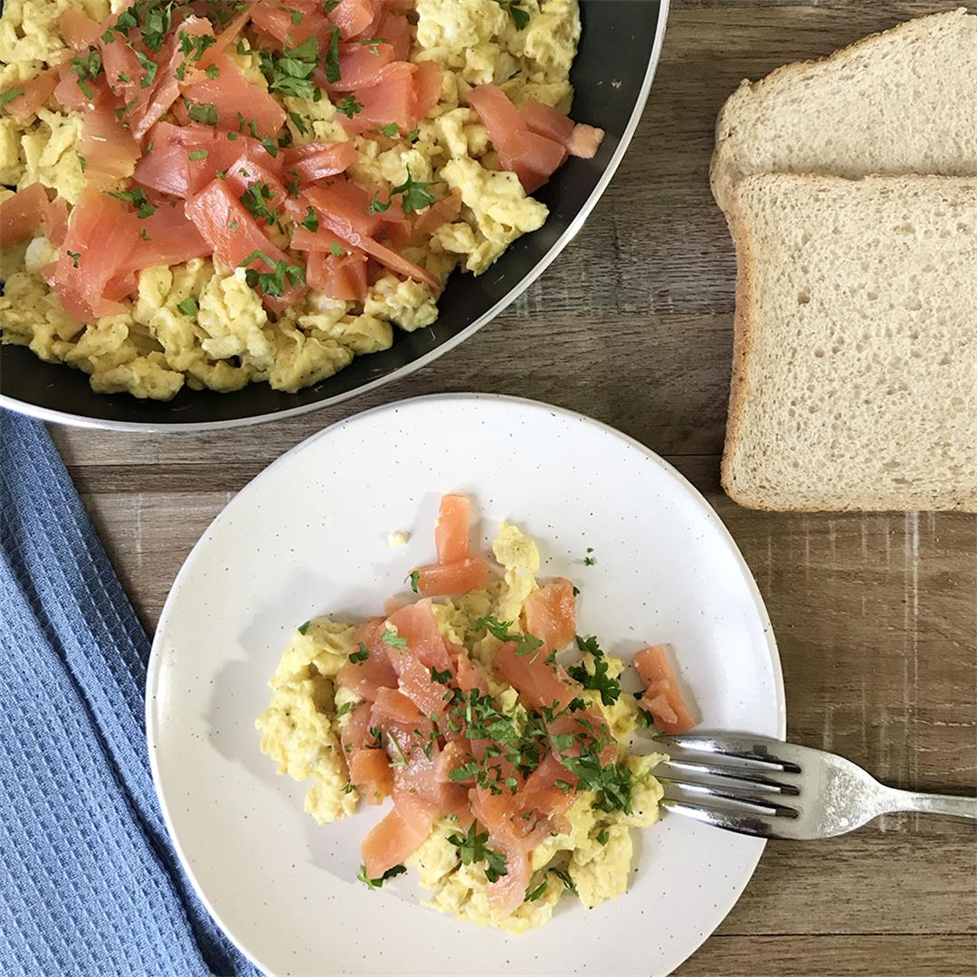 Smoked Salmon With Scrambled Eggs For Quick Healthy Breakfast