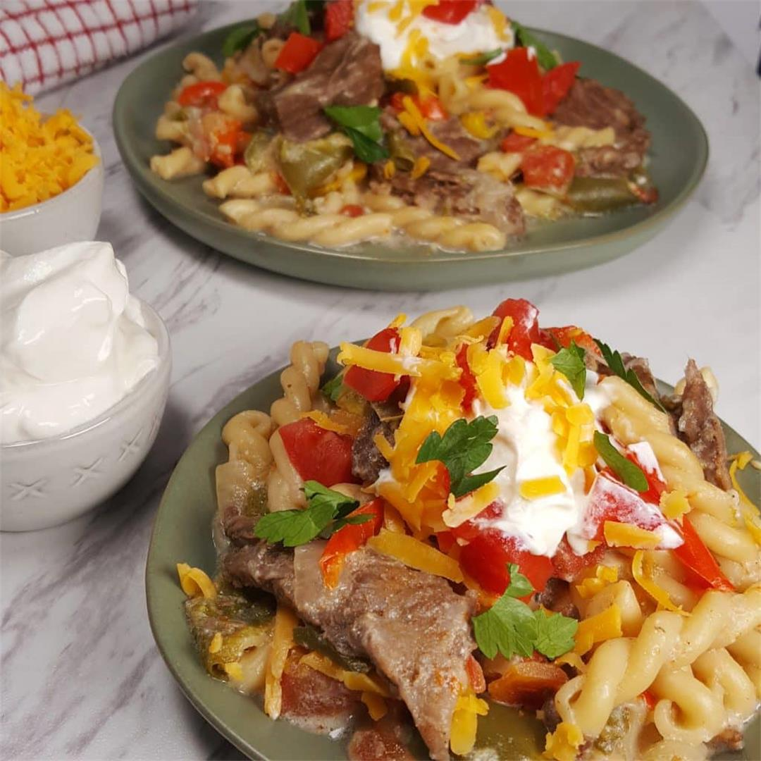 Tex-Mex Instant Pot Steak Fajitas Pasta