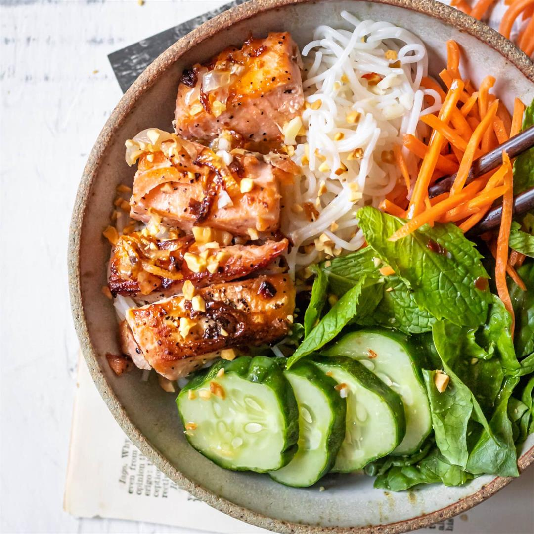 Garlic Butter Salmon Vermicelli Bowl