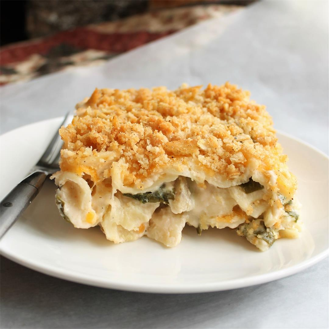 Spinach, Pasta and 3-Cheese Bake