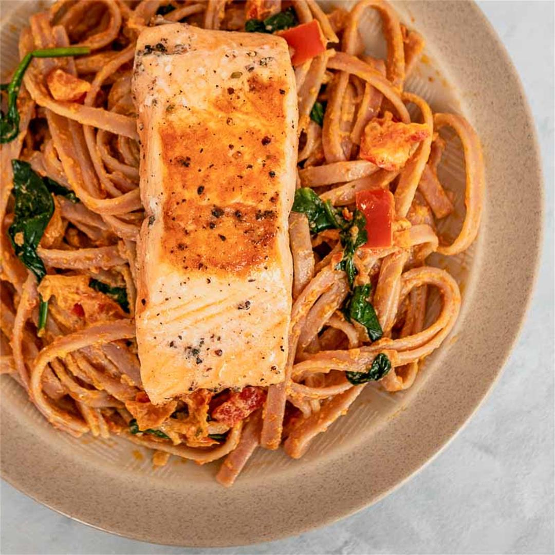 Salmon Pasta with Homemade Creamy Sun-Dried Tomato Pesto Sauce