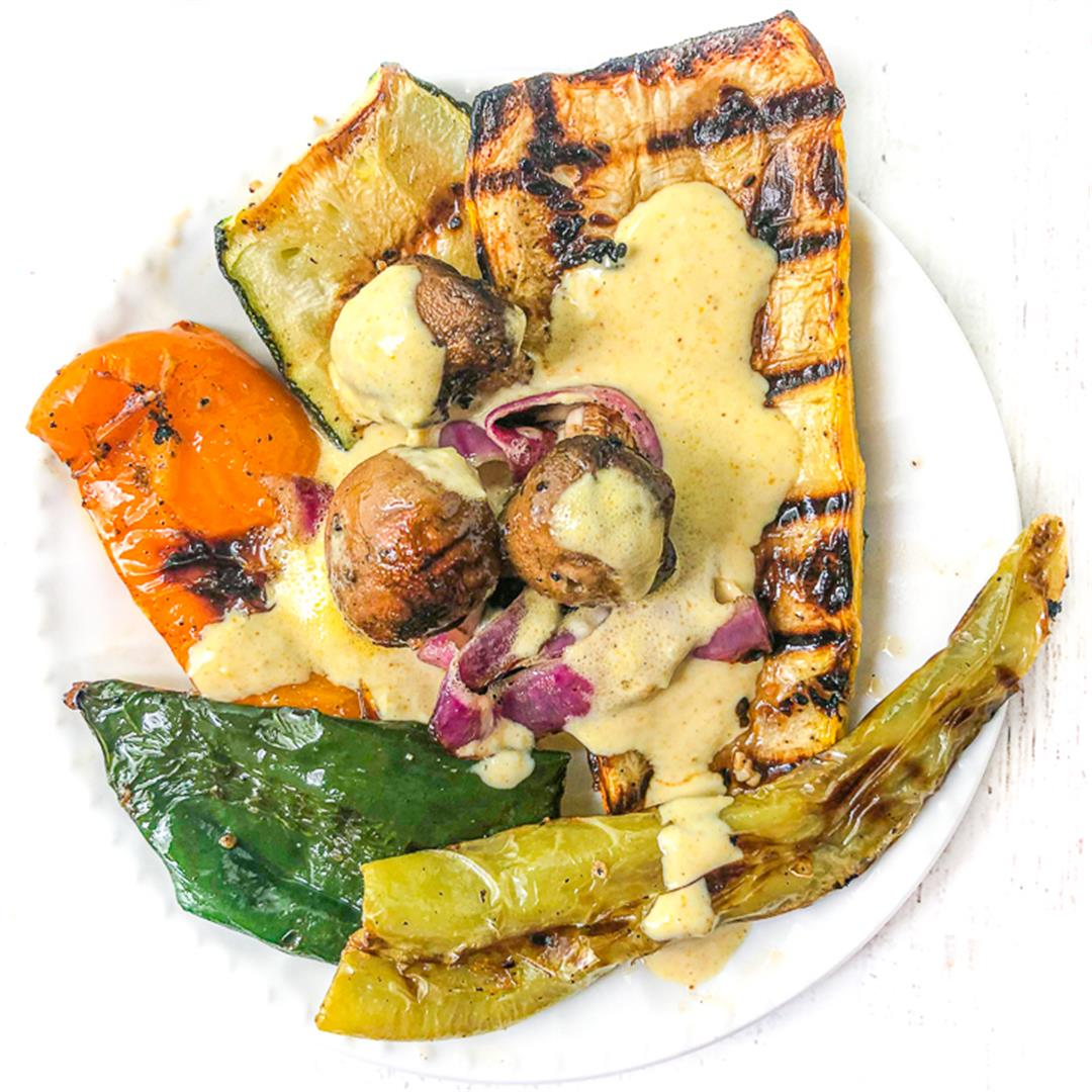Easy Grilled Vegetables & Garlic Tahini Sauce