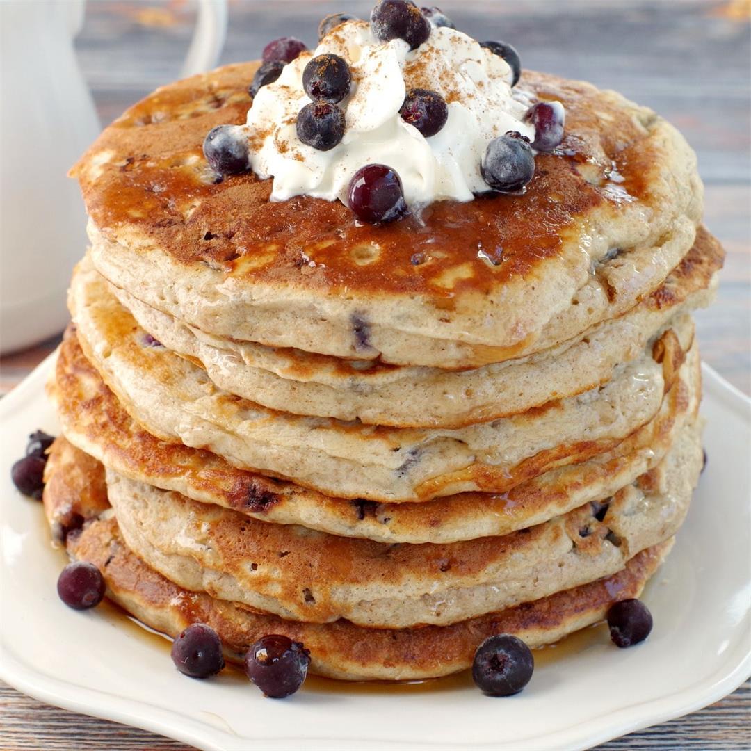 Healthy Saskatoon Berry Pancakes
