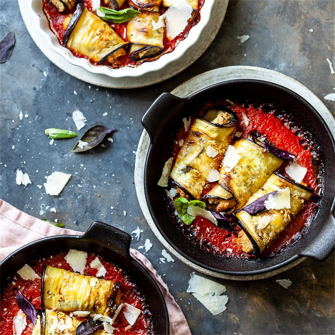 Vegan Eggplant Involtini with Almond Ricotta