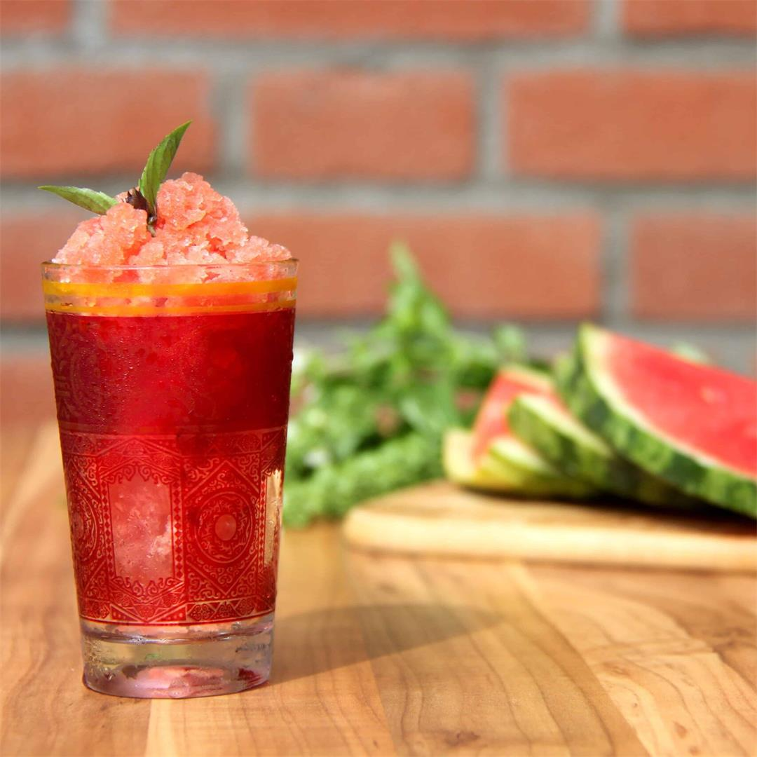 Vodka Watermelon & Basil Granita