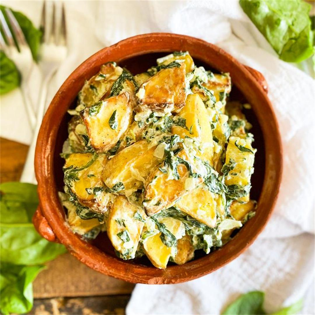 CREAMY Roasted Potatoes with Spinach & Garlic