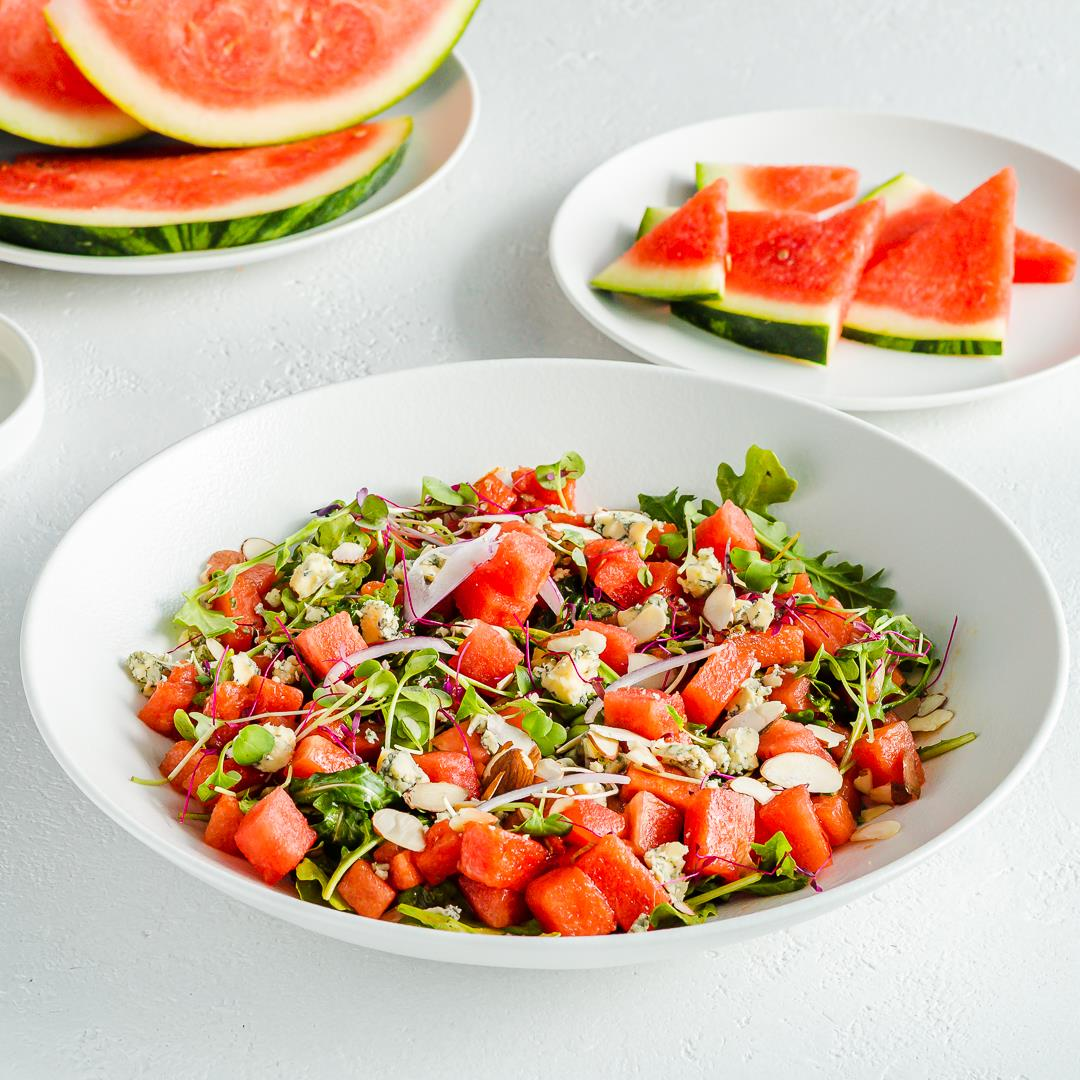 Watermelon Salad with Arugula, Blue Cheese & Balsamic
