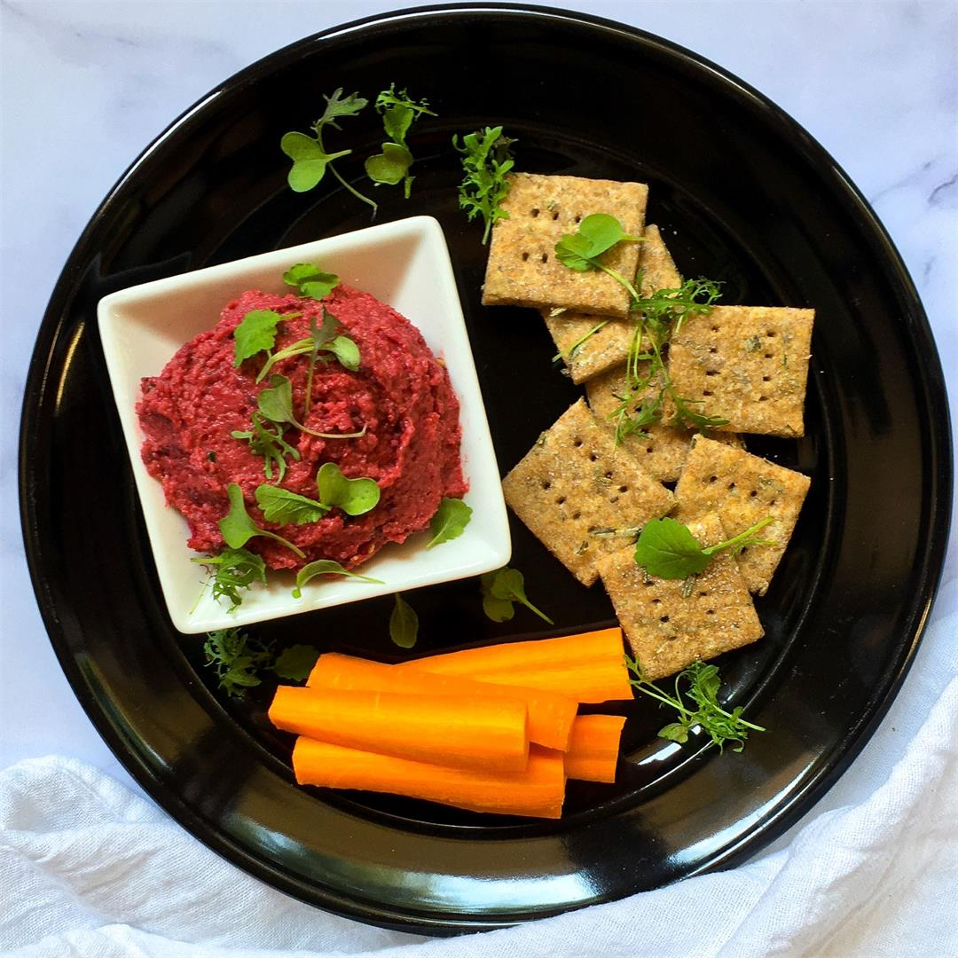 Pink Hummus with Roasted Beets