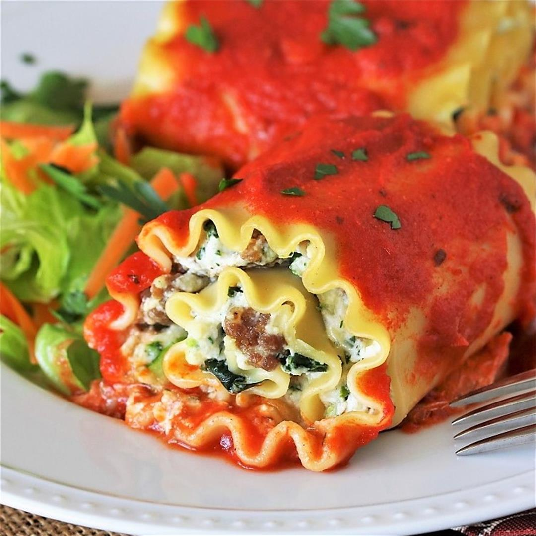 Spinach Lasagna Roll-Ups with Sausage