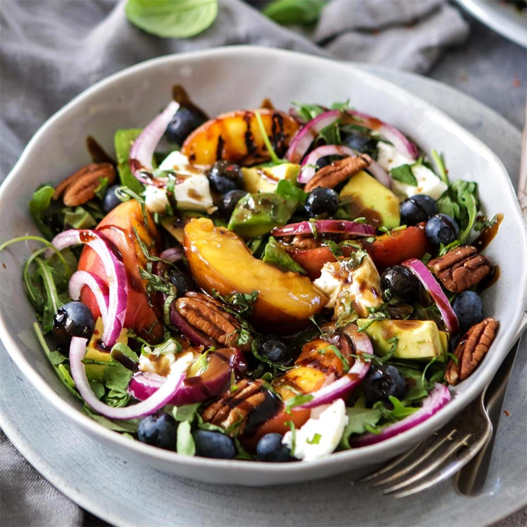 Summer Grilled Peach Salad with Burrata