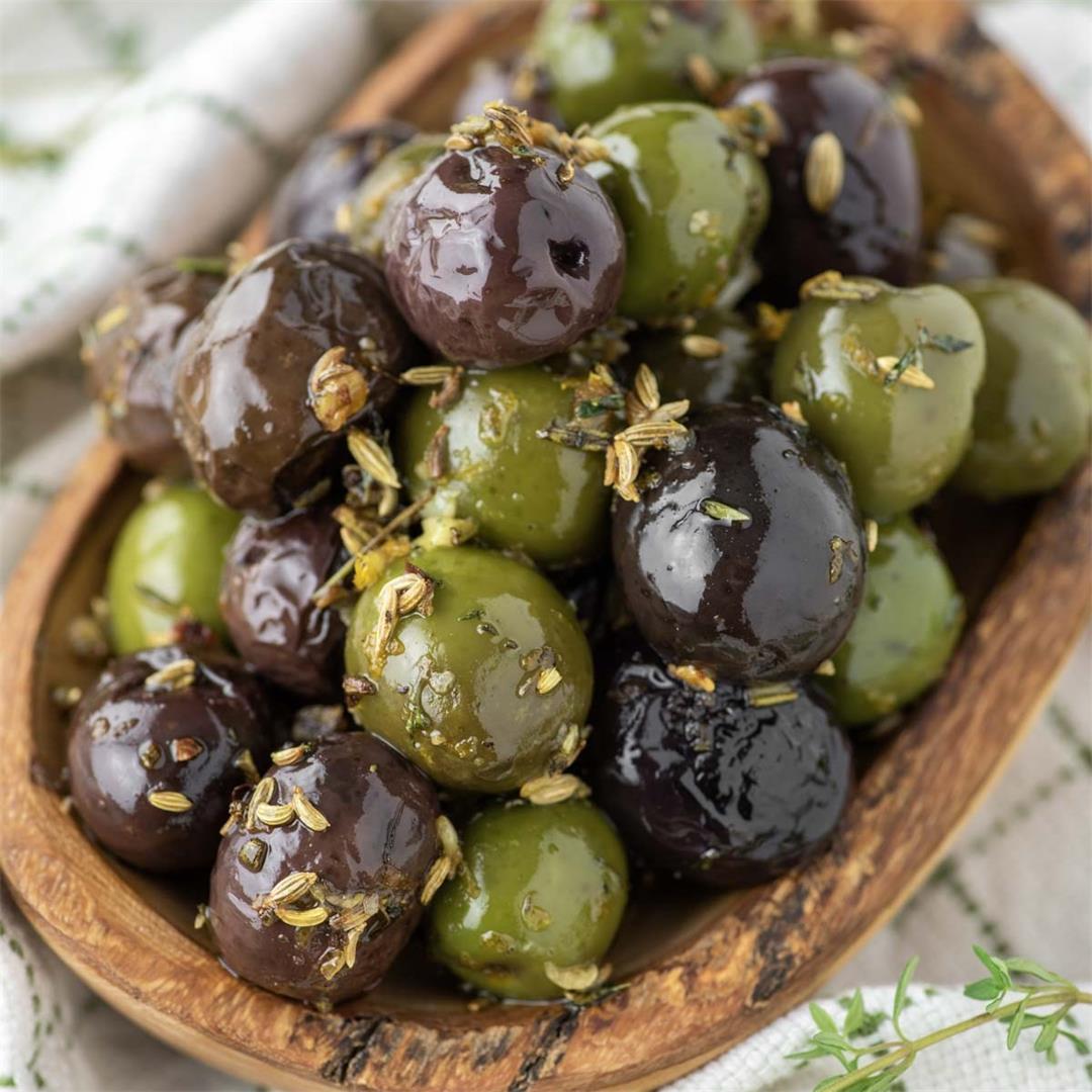 Oven Roasted Marinated Olives
