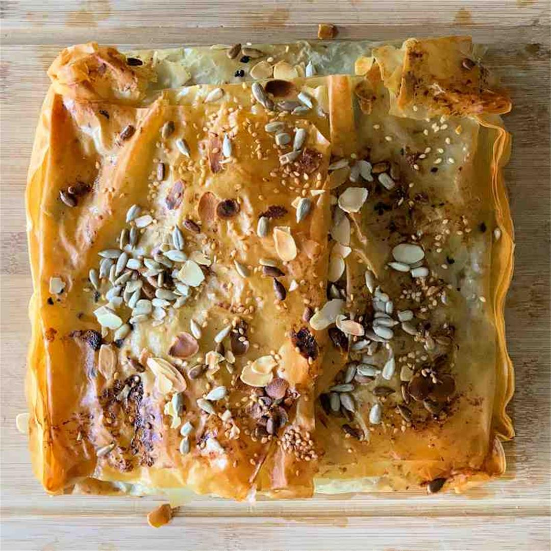 greek lamb and spinach filo pie
