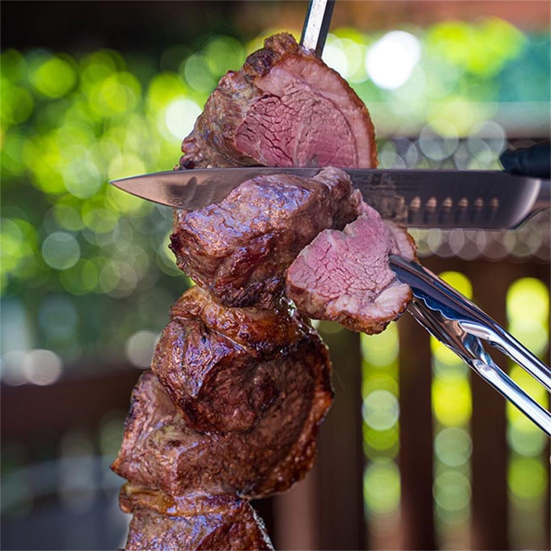 Brazilian steakhouse picanha on the rotisserie (rodizio)