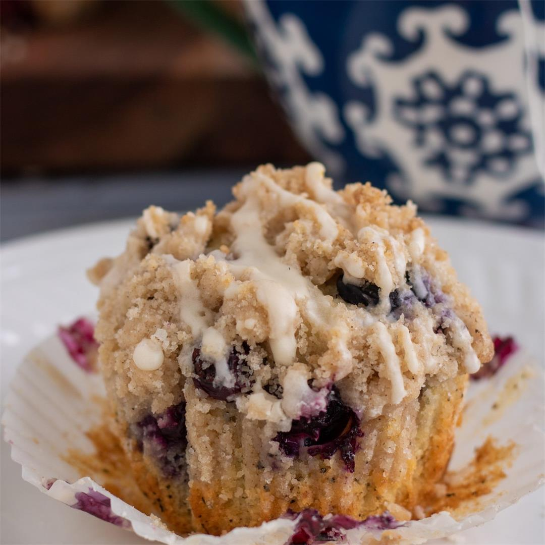Earl Grey Blueberry Crumble Muffins