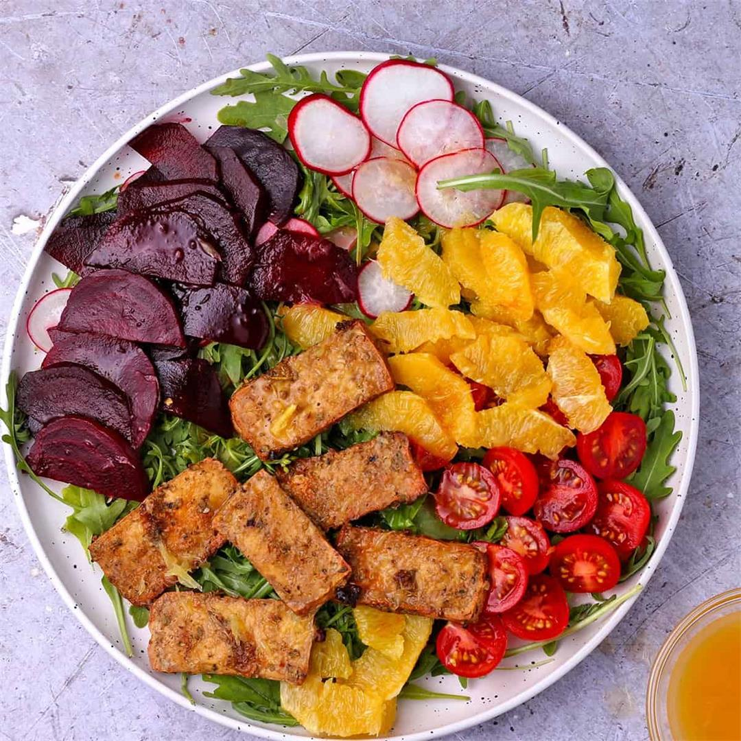 spicy orange and beetroot salad with savory tofu