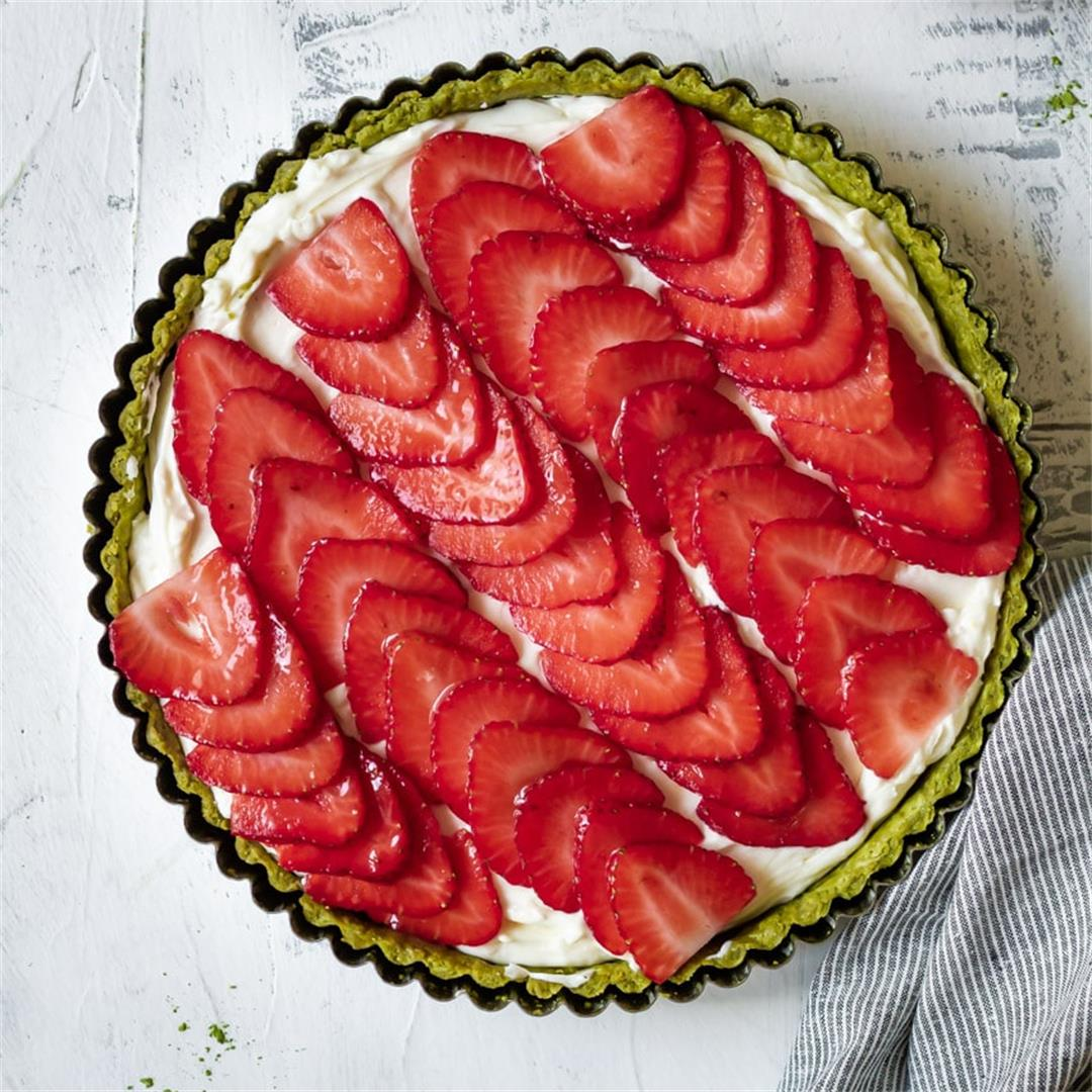 Strawberry Tart with a Matcha Crust - Cooking Therapy