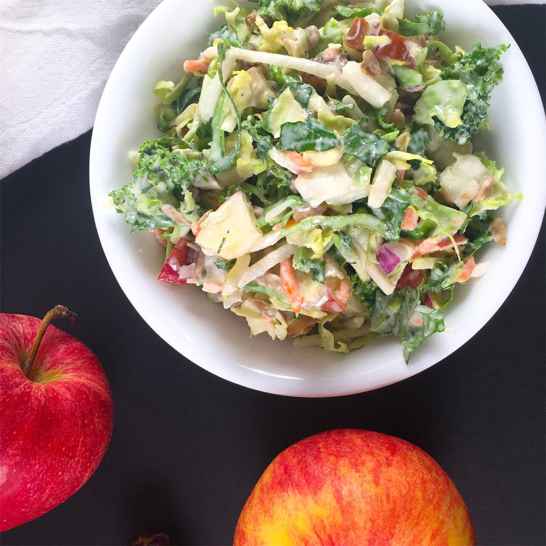 Kale Apple Slaw with Brussels Sprouts, Tahini, and Dates