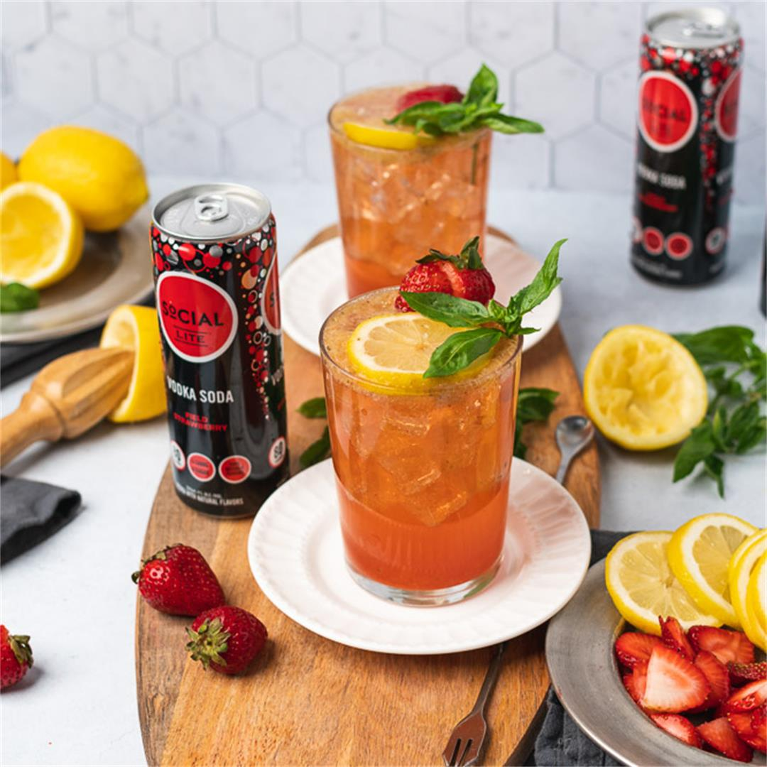 Keto Friendly Sparkling Strawberry Basil Vodka Lemonade