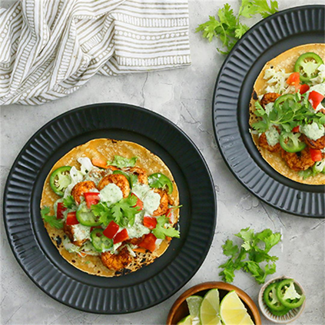 Spicy Shrimp Tacos with Cilantro Lime Sauce