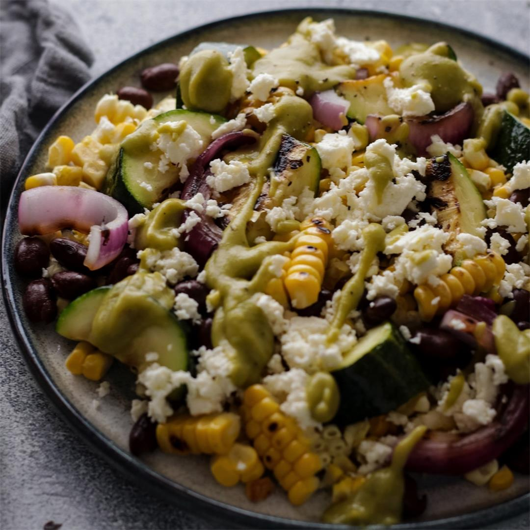 Grilled Corn and Black Bean Salad with Zucchini