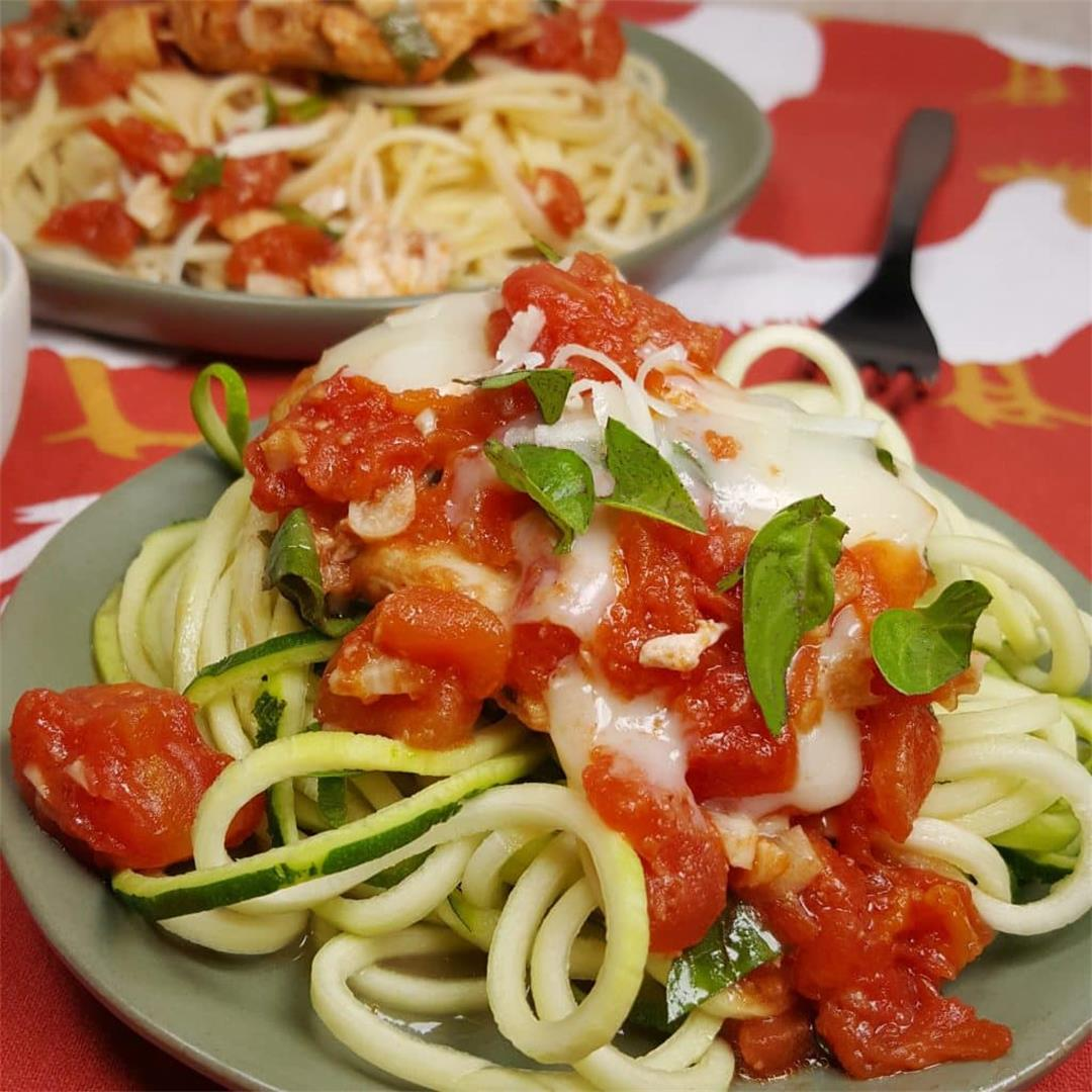 Low Carb Pressure Cooker Bruschetta Chicken with Zoodles