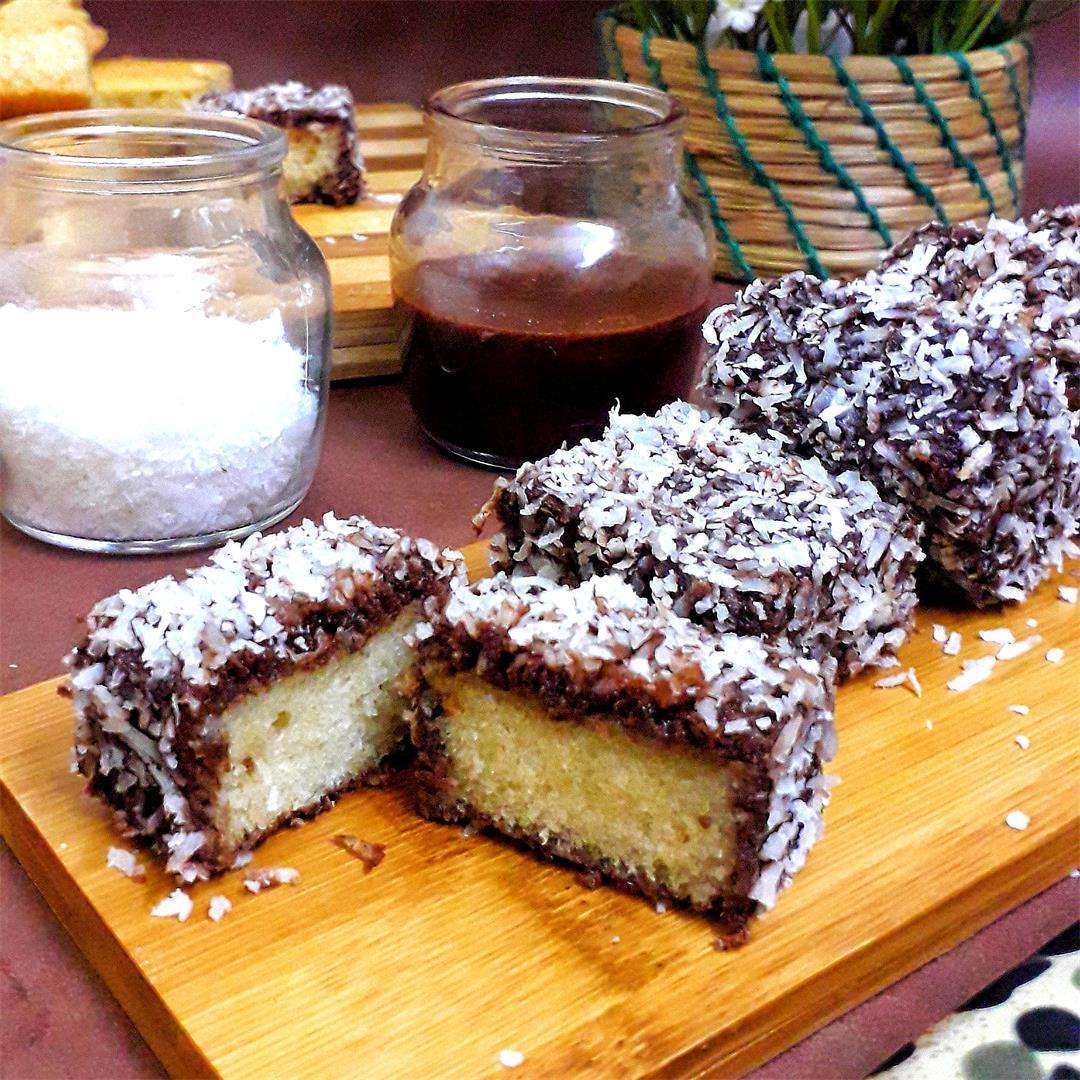 Eggless Lamingtons